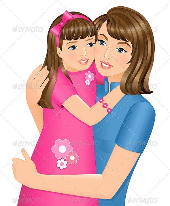 Daughter Hugging Her Mother - Characters Vectors