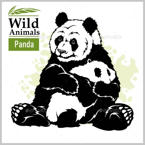 Panda Bear with a Baby in Monochrome Style - Animals Characters