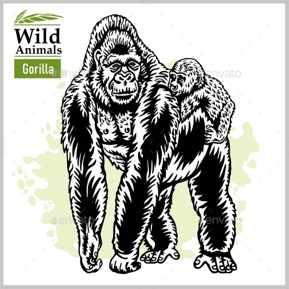Gorilla and Baby Gorilla - Animals Characters