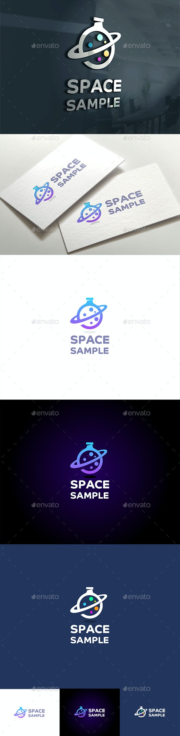 Space Flask with Saturn Aura - Objects Logo Templates