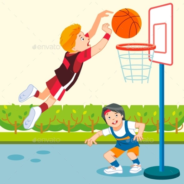 Kids Playing Basketball In A Playground Cartoon By Bahau Graphicriver