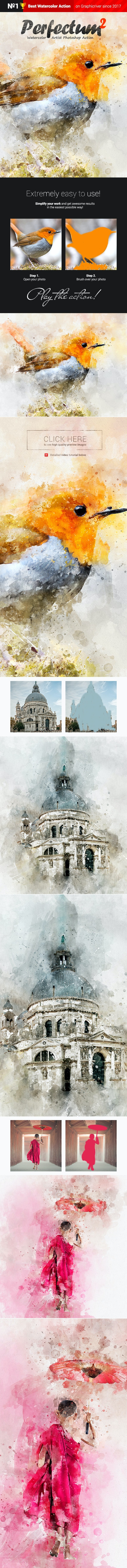 Watercolor Artist - Perfectum 2 - Photoshop Action - Photo Effects Actions