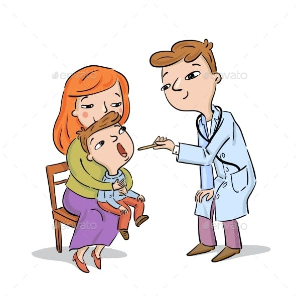 Doctor Examines Child Being Held By Mother