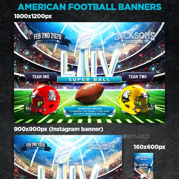American Football Banner Graphics Designs Templates