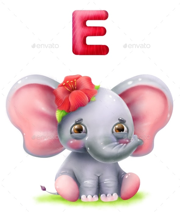 Cartoon Cute Elephant with Flower and Letter E - Animals Illustrations