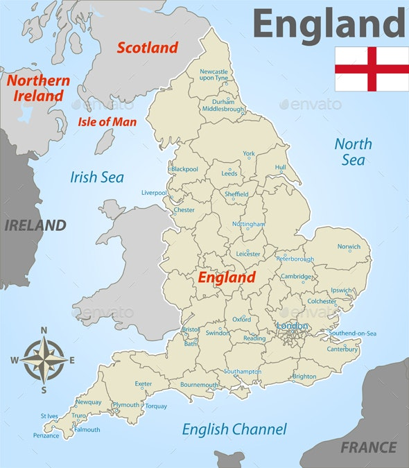 Map of England with Districts - Travel Conceptual