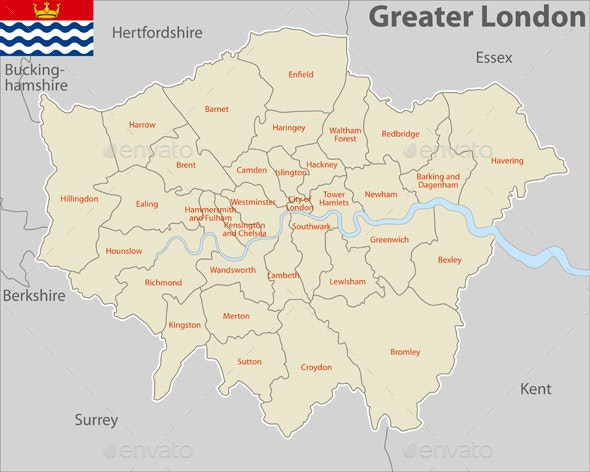Map of Greater London, UK by sateda2012   GraphicRiver