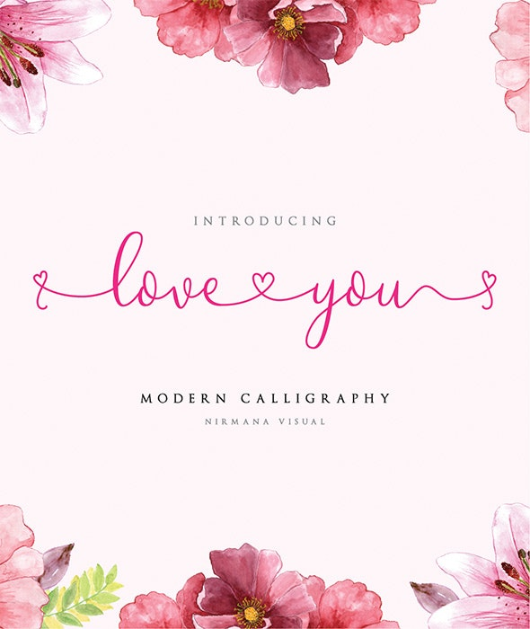 Loveyou - Romantic Font - Calligraphy Script