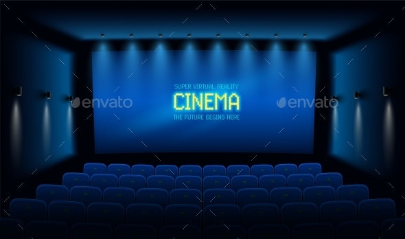 Empty Cinema Theater Hall with Blue Screen - Miscellaneous Vectors