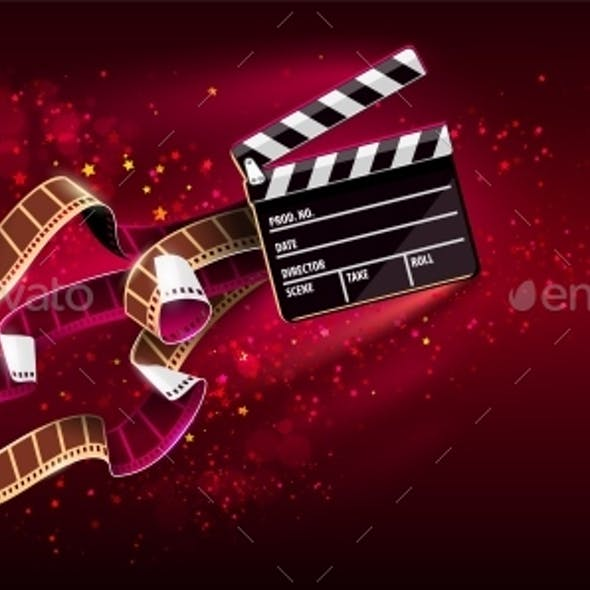 Cinema Producers Clapperboard for Film Making Flying in Space