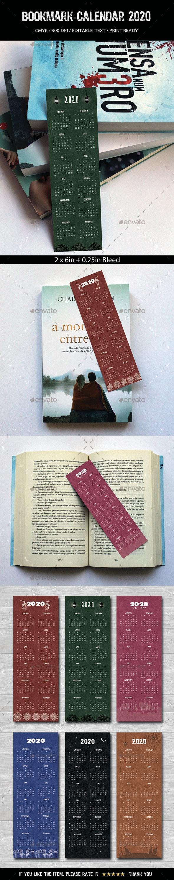 Bookmark-Calendar 2020 - Miscellaneous Print Templates