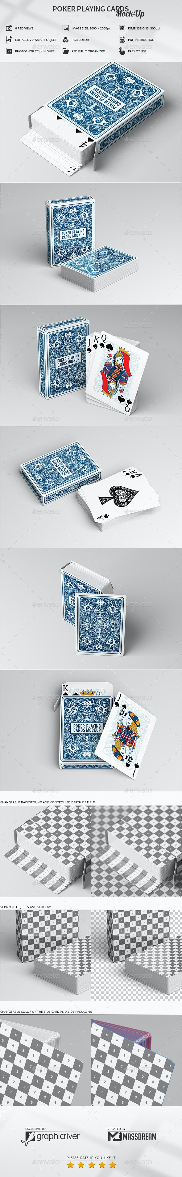 Poker Playing Cards Mock-Up - Product Mock-Ups Graphics