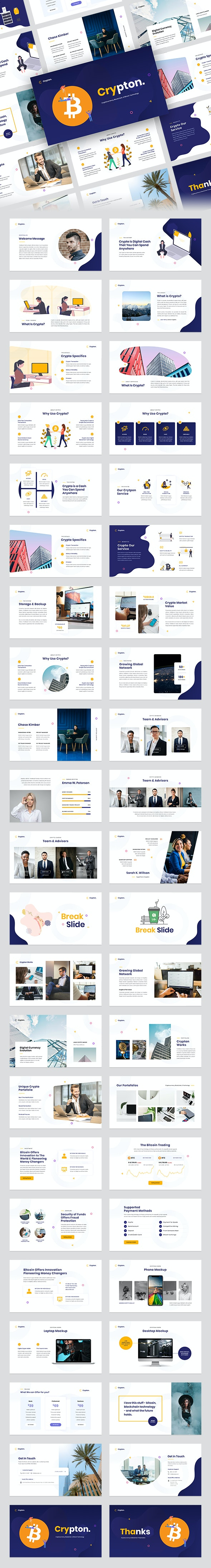 Crypton - Cryptocurrency & Blockchain PowerPoint Template - Business PowerPoint Templates