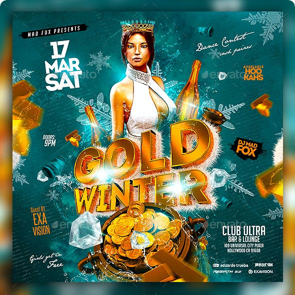 Gold Winter Party Flyer