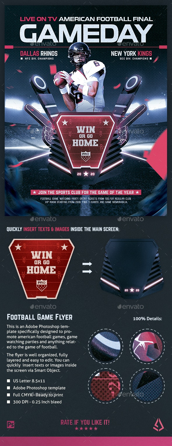American Football Flyer v12 Football Match Template - Sports Events