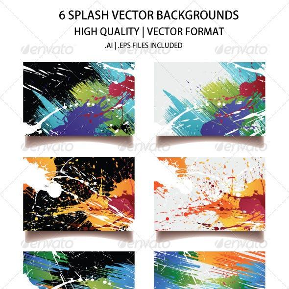 6 Splash Vector Backgrounds