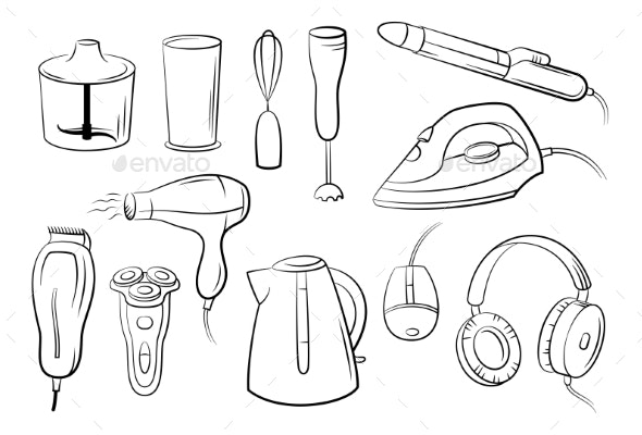 Set of Technical Equipment - Man-made Objects Objects