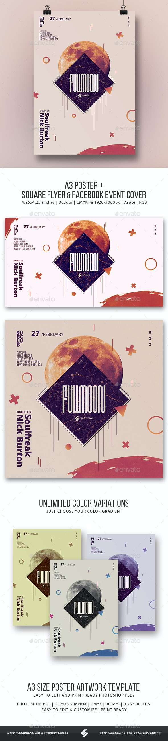 Full Moon - Alternative Music Event Poster / Flyer Artwork Template - Clubs & Parties Events
