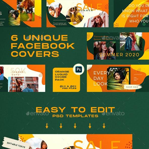 Orange Liquid Facebook Covers