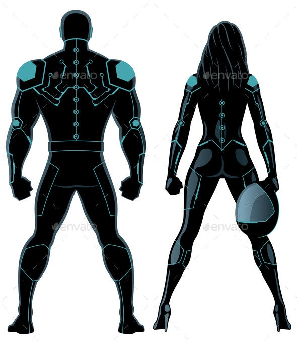 Futuristic Superheroes Couple on White - People Characters