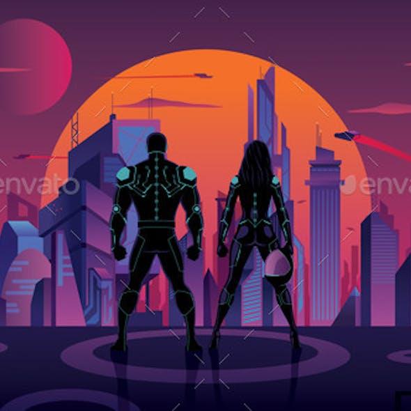 Superhero Couple in Futuristic City 2