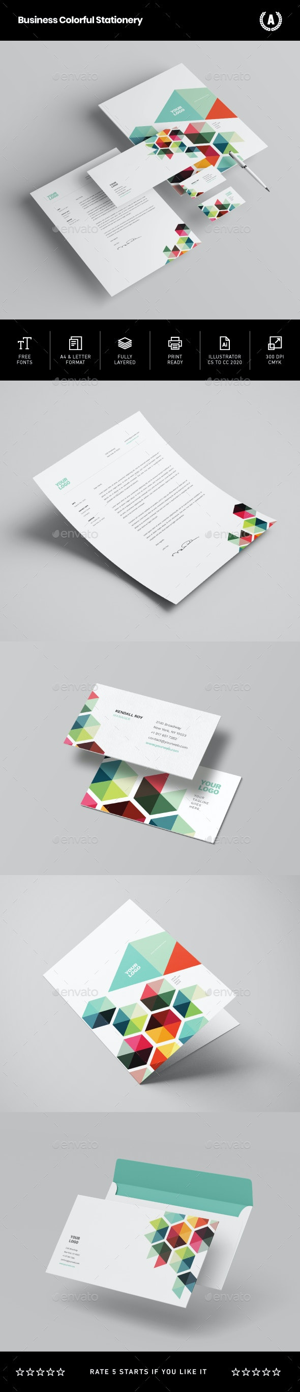 Business Colorful Stationery - Stationery Print Templates