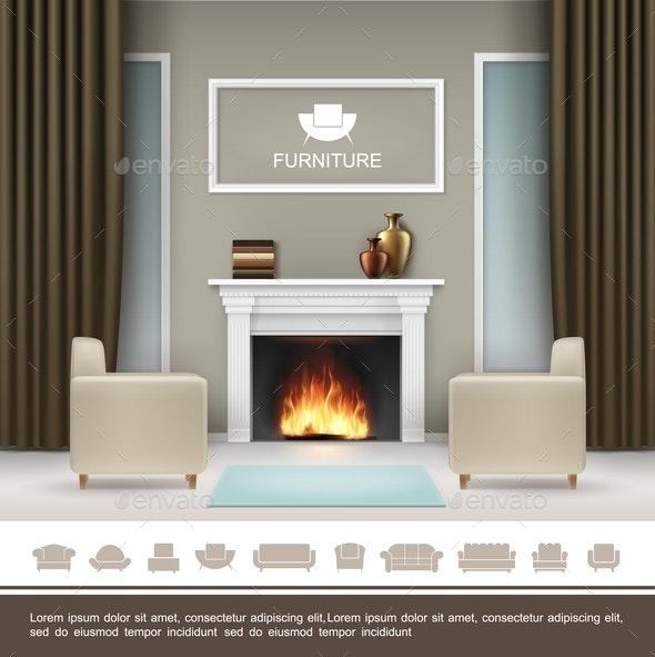 Realistic Living Room Interior Concept - Miscellaneous Vectors