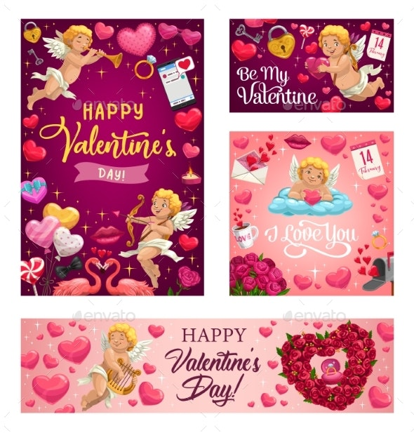 Valentines Day Love Hearts Cupids and Flowers - Valentines Seasons/Holidays