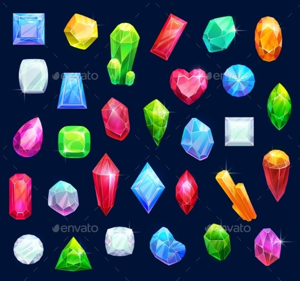 Jewelry Gemstones Gems and Diamond Crystals - Miscellaneous Vectors