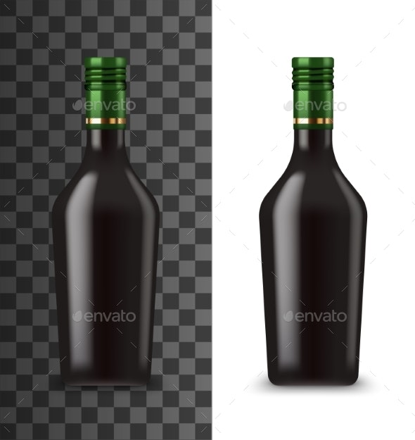 Glass Bottle Chocolate Cream Liquor Mockup - Food Objects