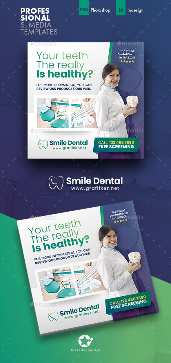 Dental Social Media Templates - Social Media Web Elements