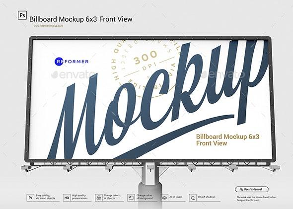Billboard Mockup 6x3 Front View - Product Mock-Ups Graphics
