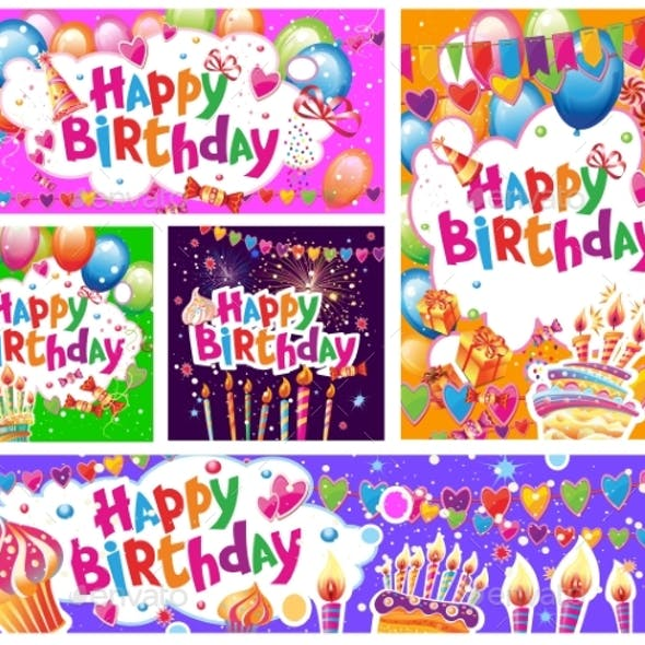 Set of Birthday Cards and Banners Balloons