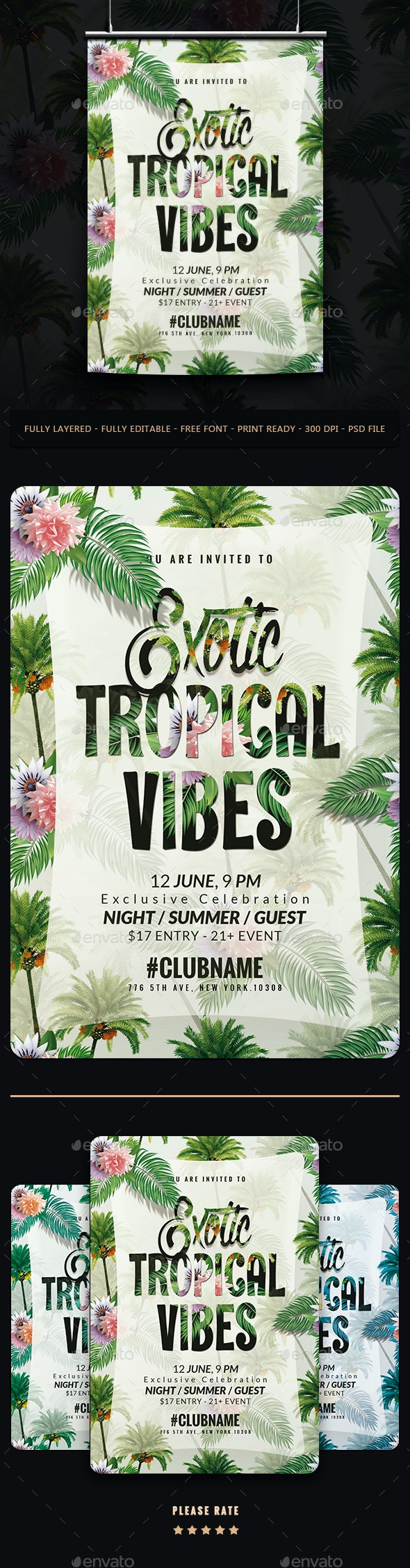 Exotic Tropical Vibes Flyer - Events Flyers