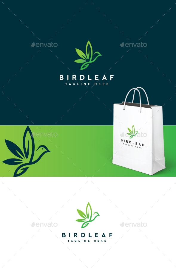 Bird Leaf Logo - Animals Logo Templates