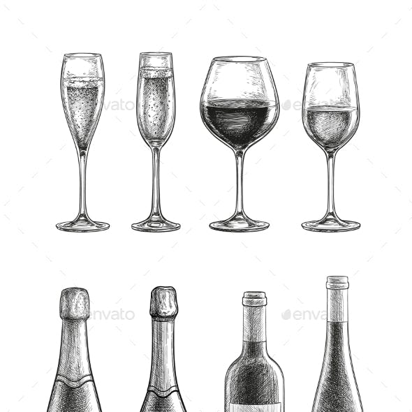 Bottles and Glasses with Champagne and Wine
