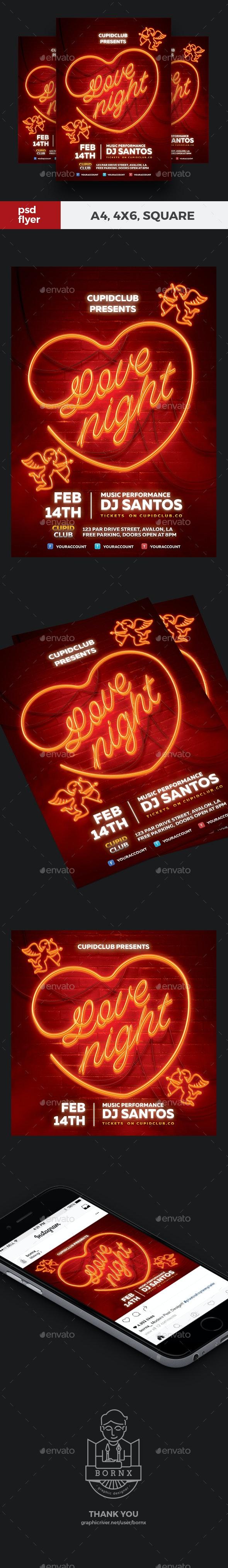 Neon Valentine Flyer - Clubs & Parties Events