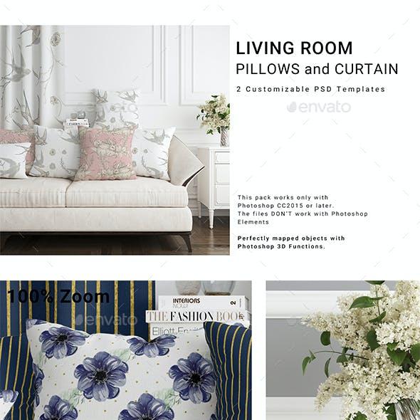 Pillows and Curtain Set
