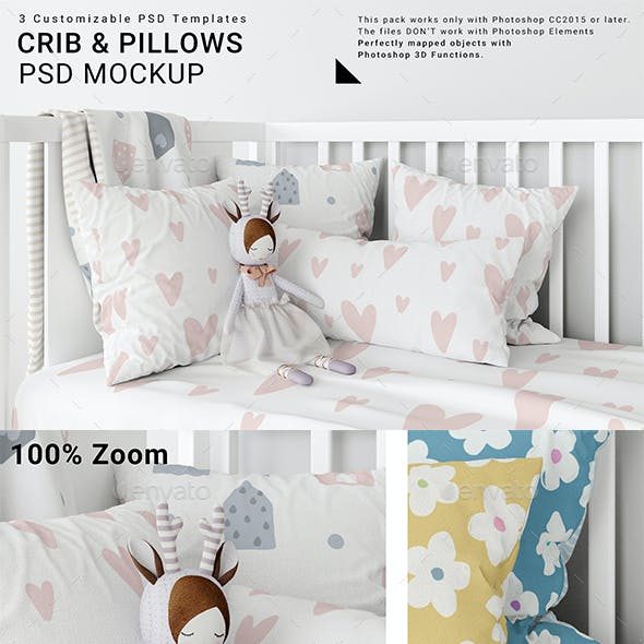 Baby Crib with Duvet and Pillows Set