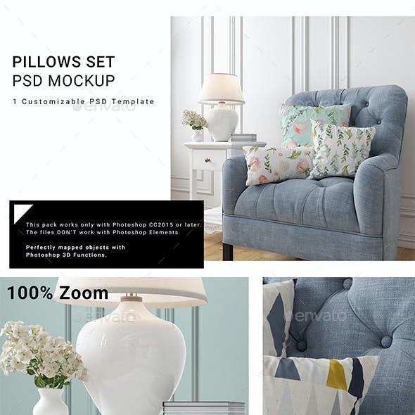 Throw Pillows on Armchair Set