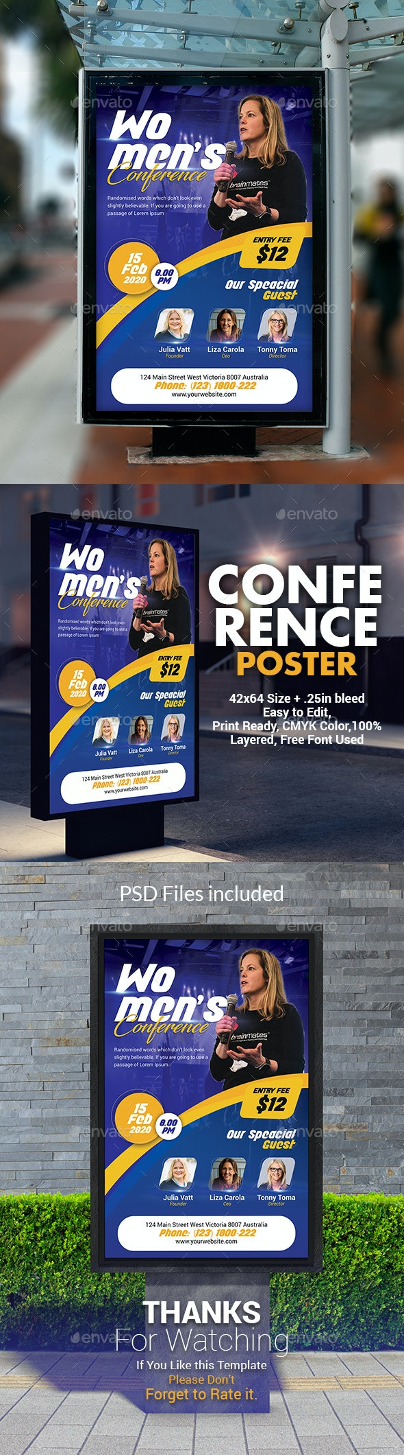 Women's Conference Poster Template - Signage Print Templates