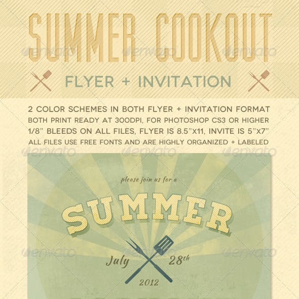 Summer Cookout Flyer + Invite