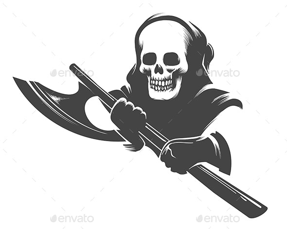 Smiling Skull in the Hood with Executioner Axe - Tattoos Vectors