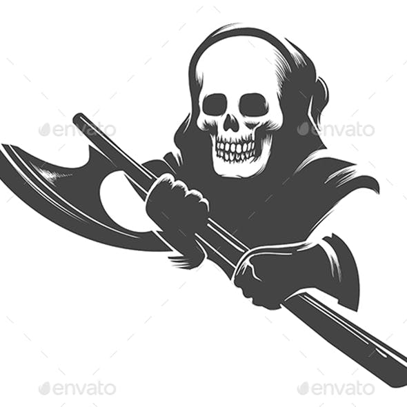 Smiling Skull in the Hood with Executioner Axe