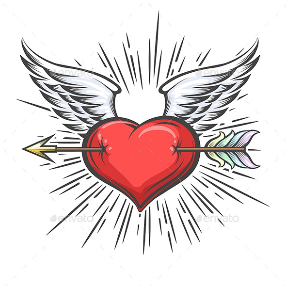 Winged Heart Pierced by Arrow Tattoo - Tattoos Vectors