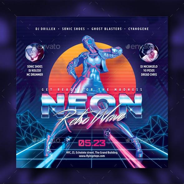 Neon Retro 80s Party Flyer