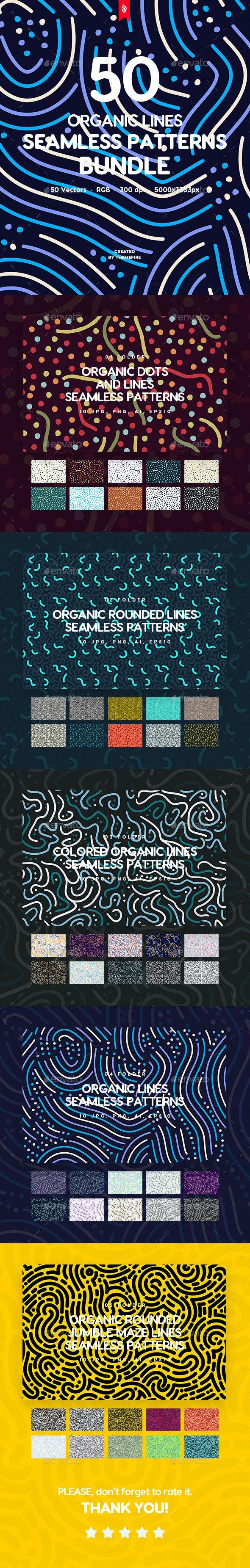 50 Organic Lines Seamless Patterns Bundle - Patterns Backgrounds