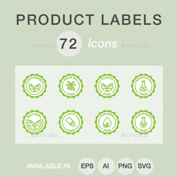 Product labels icon set