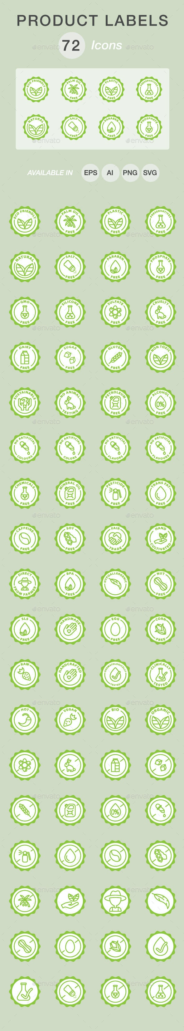 Product labels icon set - Food Objects