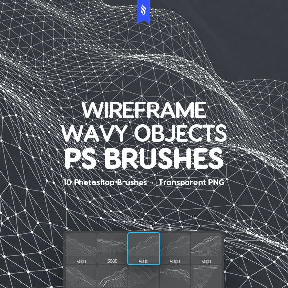Waves with Connecting Dots and Lines Photoshop Brushes